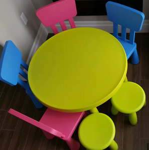 Ikea table, chairs and stools