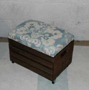 Crate Footstool, damask