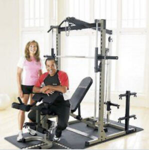 Smith Machine Lat Tower Leg + Curl Adjustable Bench Weights
