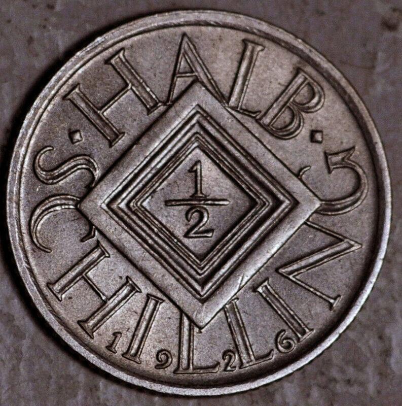 AUSTRIA SILVER 1/2 SCHILLING 1926 KEY DATE UNC  - $9.99