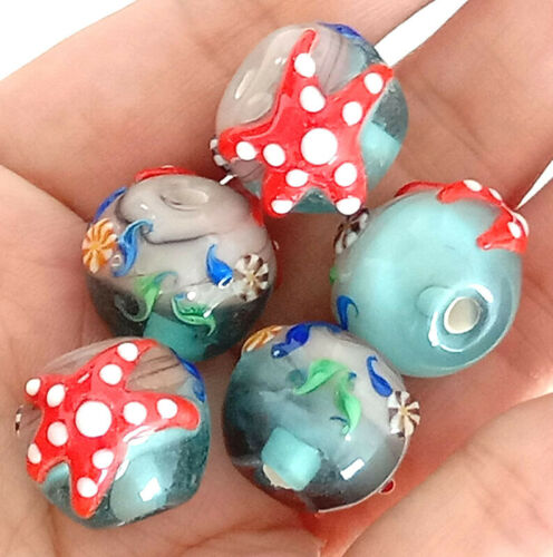 10pcs handmade Lampwork glass round beads  14mm blue Starfish