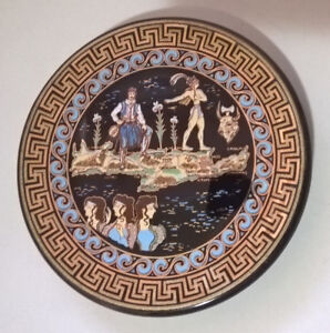 Vintage Hand Made Greek Plate 24k Gold Greek Plate