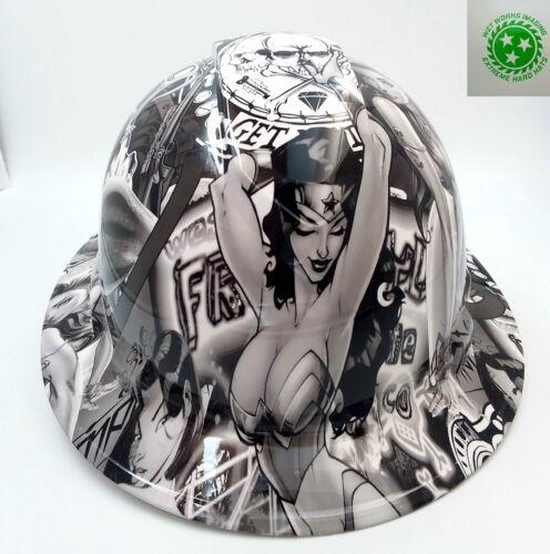 FULL BRIM Hard Hat custom hydro dipped , SEXY WONDER WOMAN O