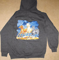 Adult Full Zipper Hoodie with running horses picture on the back