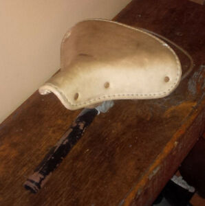 Old leather antique vintage bicycle seat