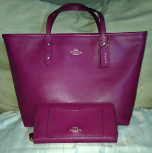 Authentic Coach Crossgrain Leather City Zip Tote F37785 & Wallet