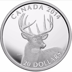 RCM - 2014 The White Tailed Deer - Portrait   $20.00 Coin