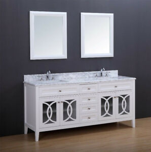 "CASA 72"" BATHROOM VANITY WHITE WITH MARBLE TOP"