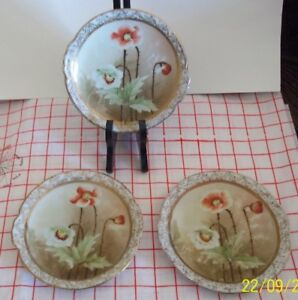 Antique Hand Painted Nippon Poppy Pattern Dishes