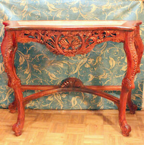 Table d'appoint, sculpte, carved  console table, granite insert