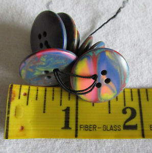 BUTTONS - Multi-Coloured Rainbow Buttons - 4 large, 4 small