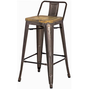 2 BRAND NEW rustic modern counter stools with back support