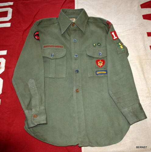 VINTAGE BOY SCOUT c.1950,s SHIRT WITH PATCHES AND PINS - YORK, PA