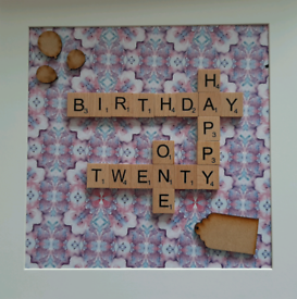 21st Birthday Scrabble tile frame
