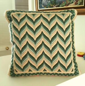 Bargello Needlepoint Hand Stitched WAVE Pillow / Coussin