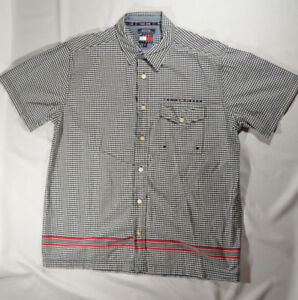 Vintage Tommy Jeans Black Micro Check Button Down Shirt - Mens L