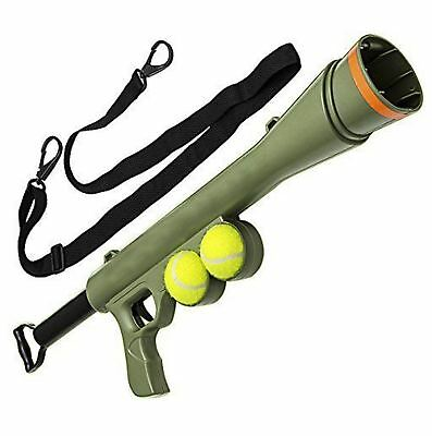 New Tennis Ball Launcher Gun Rated Best Dog Toy Includes 2 Balls Sports Game Fun