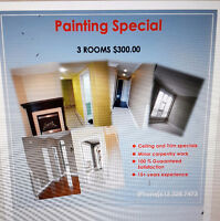 Painting Special 3 rooms for $300