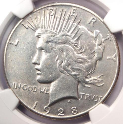 1928 Peace Silver Dollar $1 - NGC AU Details - Rare 1928-P Key Date Coin!