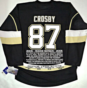 SIDNEY CROSBY PENGUINS NHL LICENSED 2005-06 ROOKIE STATS JERSEY