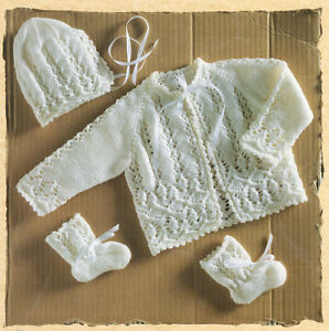 Baby Matinee Jacket Bonnet & Bootees~ Intricate Pattern ~ 3 Ply Knitting Pattern