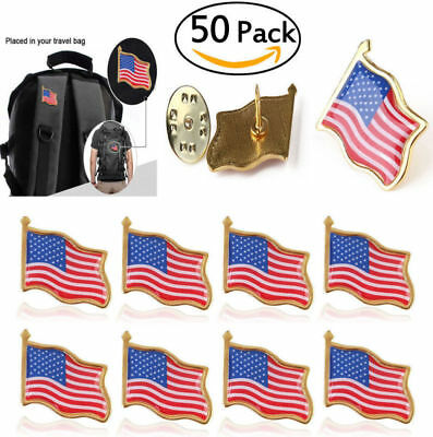 50pcs Unisex American Flag US Lapel Pin United States USA Hat Tie Tack Badge Pin - Us Flag Pins