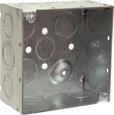 Raco  4 In. Square  Steel  2 Gang Junction Box  Gray