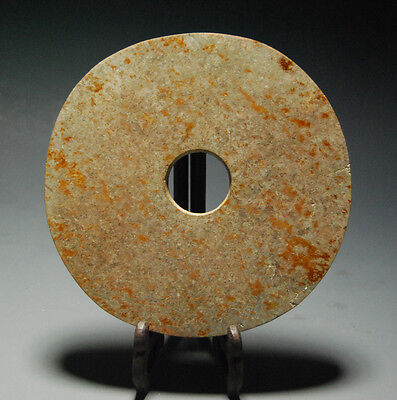 Very Rare Chinese Neolithic Ancient Jade Carved Ritual Bi Large Disc 7.28