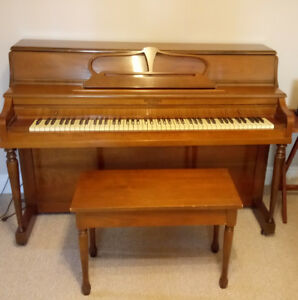 Apartment Style Piano and Bench (Possibly Ivory Keys)
