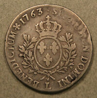 1763 France Silver Ecu - Very large Crown Dollar size coin