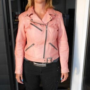 Womens Harley Davidson Pink Leather Jacket Size L