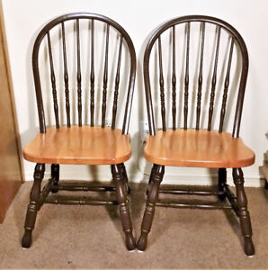 Alder Hardwood Dining Chairs in Clear Coat and Brown – Set of 2