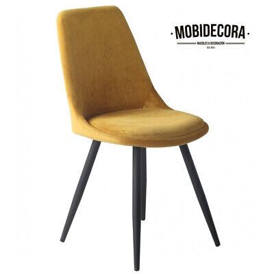 Silla de comedor, diseño, pata metal, tapizada terciopelo amarillo mostaza