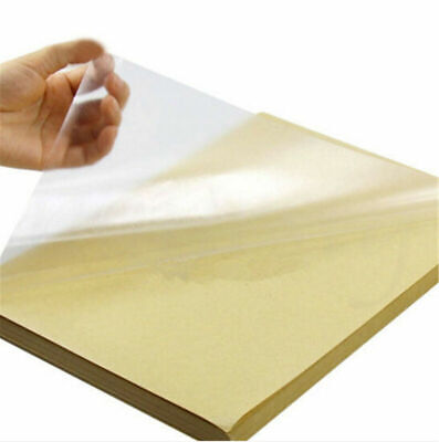 50pcs A4 Clear Transparent Film Self Adhesive Sticker Paper For Laser Printer Us