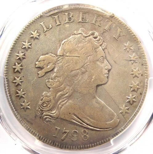 1798 Draped Bust Silver Dollar $1 Coin - Certified PCGS F15 - $2,000 Value!