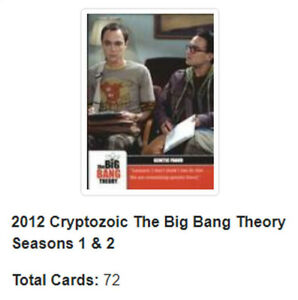 2012 Cryptozoic The Big Bang Theory Seasons 1 & 2 Base Set