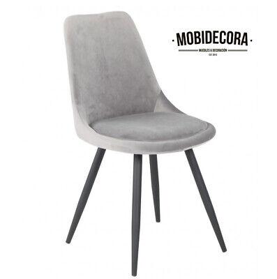 Silla de comedor, diseño, pata metal, tapizada terciopelo gris