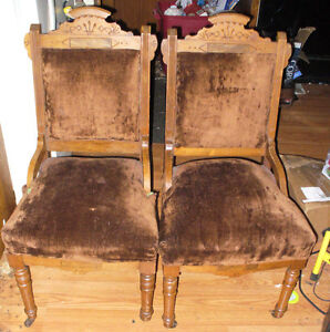 2 Antique wooden chairs.Eastlake chairs