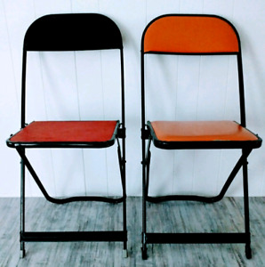 Free Delivery Foldong Chairs INDUSTRIAL Vinyl Antique Vintage