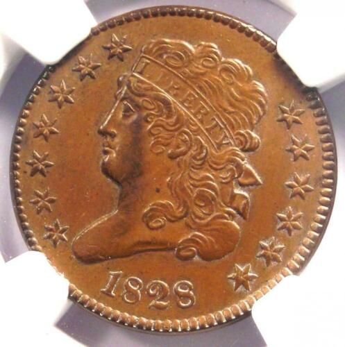 1828 Classic Head Half Cent 1/2C - NGC Uncirculated Detail (UNC MS) - Rare Coin