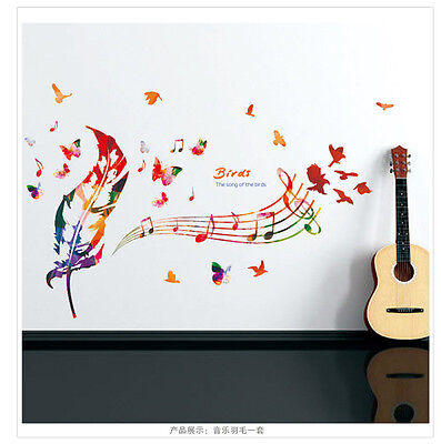 Living Room Bird Music Feathers Wall Sticker Mural Art Vinyl Decals Home Decor