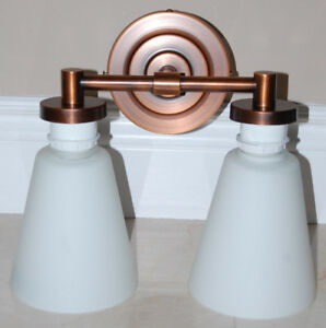 NEW Bathroom 2-Light Vanity Lights Bronze Finish White Shade