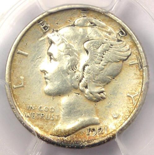 1921-D Mercury Dime 10C Coin - Certified PCGS XF Details (EF) - Rare Key Date!