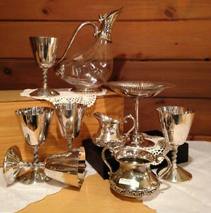 MANY ANTIQUE & VINTAGE  CRISTAL , SILVER , WARE