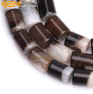 Column Natural Botswana Agate Stone Beads Tube Cylinder For Jewelry Making 15