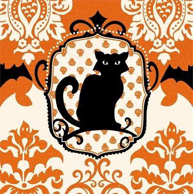 SPOOKY BLACK CAT HALLOWEEN PAPER COCKTAIL BEVERAGE NAPKINS