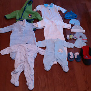 0 - 12 Month baby clothes and diaper bag.
