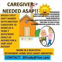 LOOKING FOR A CAREGIVER TO SHARE WEEKLY SHIFT (24 HRS)
