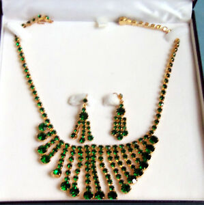 EMERALD RHINESTONE NECKLACE W/MATCHING EARRINGS/IN CASE/NY London Ontario image 1