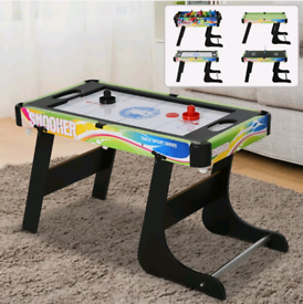 4-in-1 Foldable Game Table Hockey Football Table Tennis & Pool Home Ga
